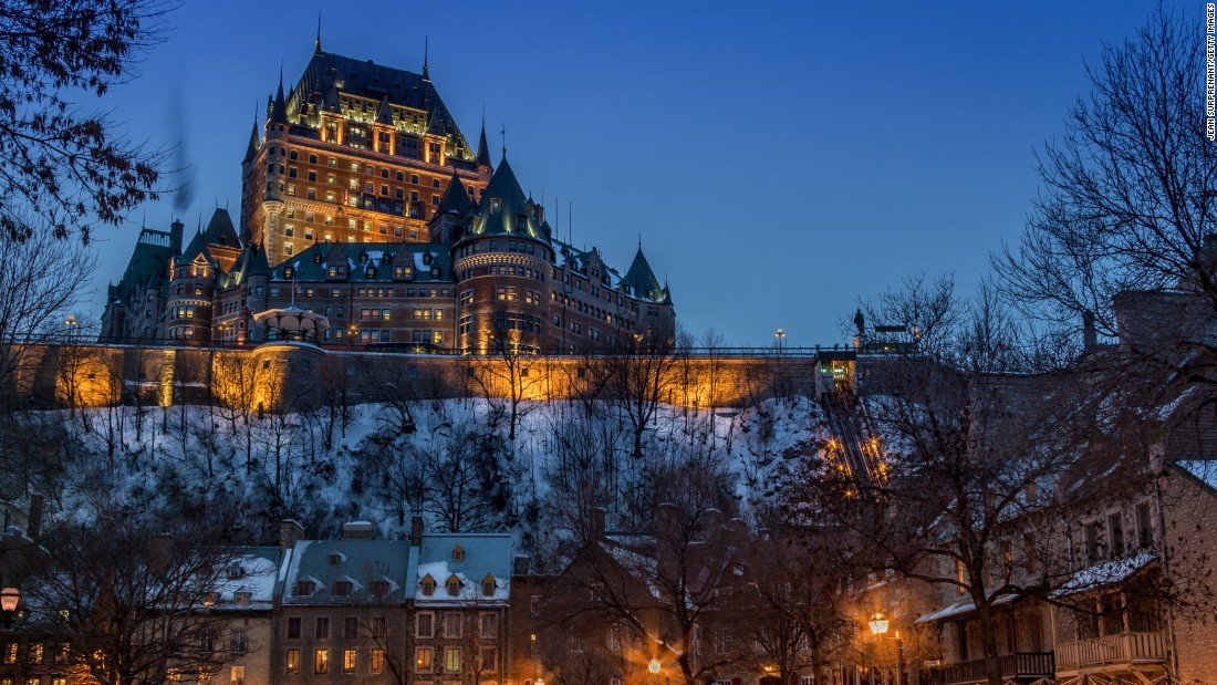 <strong>Canada</strong> is the fifth-happiest country in the world, and the historic city of Old Quebec must be one reason why. Founded in the early 17th century, it's the only North American city north of Mexico with preserved ramparts, bastions, gates and defensive works. The 19th-century Chateau Frontenac is shown here.