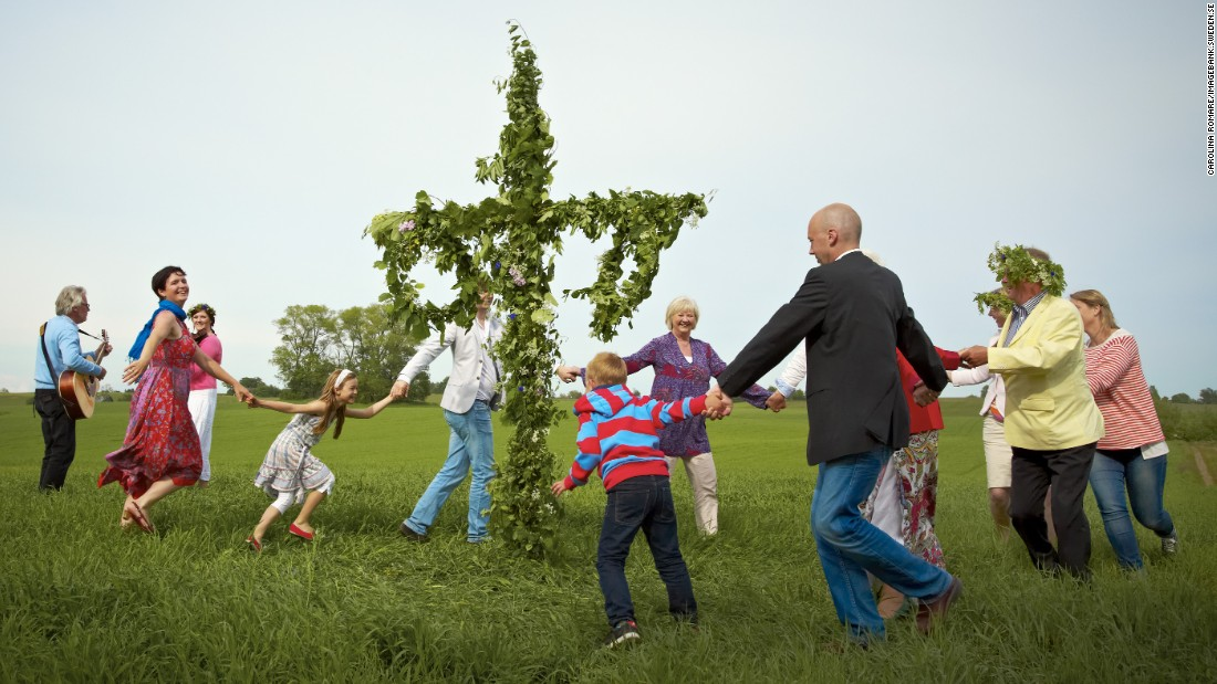 <strong>Sweden</strong>, the world's eighth-happiest country, celebrates midsummer as one of its most popular holidays. It is tradition to raise a maypole for midsummer, the longest day of the year.