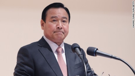 File: South Korean Prime Minister Lee Wan-Koo speaks during an inauguration ceremony on February 17, 2015. Lee offered to resign Monday amid a growing political scandal.