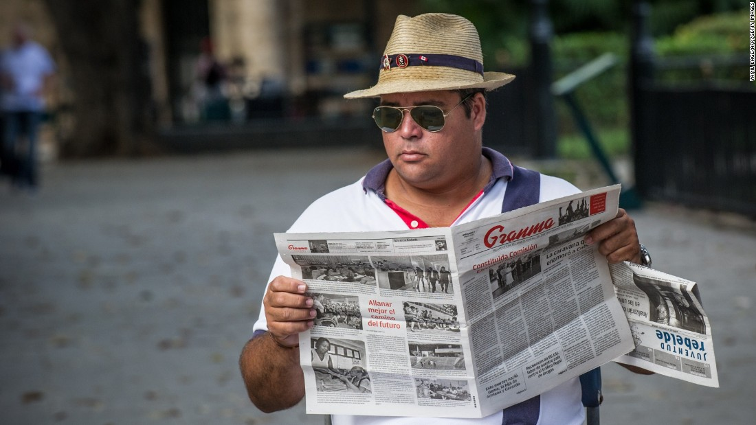 """A man in Cuba reads the state newspaper """"Granma,"""" but he may soon have access to more news and entertainment from the United States. After 54 years, the United States and Cuba restored diplomatic relations in 2015. In August, Secretary of State John Kerry officially <a href=""""http://www.cnn.com/2015/08/14/politics/cuba-embassy-opening-john-kerry-visit/index.html"""">reopened</a> the U.S. Embassy in the Caribbean island nation."""