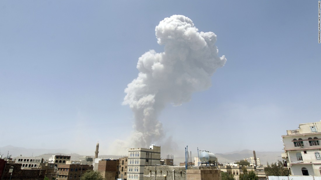 A huge cloud of smoke rising after an airstrike by the Saudi-led coalition on Sanaa on April 20.