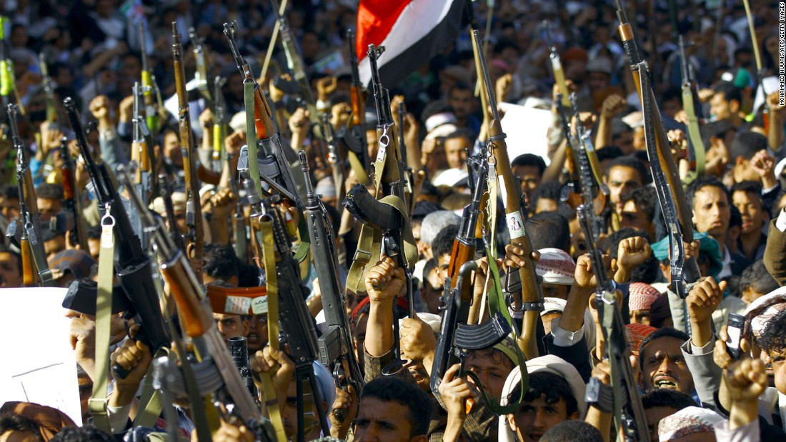 Houthi supporters taking part in a demonstration Wednesday in Sanaa against the Saudi-led air campaign.