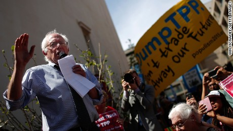 WASHINGTON, DC - APRIL 20: Sen. Bernie Sanders (I-VT) speaks to protesters taking part in a 'Don't Trade Our Future' march organized by the group Campaign for America's Future April 20, 2015 in Washington, DC. The event was part of the Populism 2015 Conference which is conducting their conference with the theme 'Building a Movement for People and the Planet.' (Photo by Win McNamee/Getty Images)