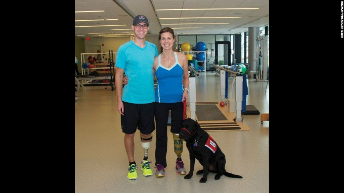 "<strong>Patrick Downes</strong> and <strong>Jessica Kensky Downes </strong>met when they were interns on Capitol Hill. She lost both legs and was pushed into court in a wheelchair. Her aide dog, Rescue, lay beside her as she testified. ""I remember being happy, I remember feeling sunlight on my face. I remember feeling free."" And then the bomb went off. Because she is a nurse, she focused on saving her husband. His foot and part of his leg were hanging by a thread. She remembers screaming, and not being able to hear anything. This photo was taken before she decided to amputate her second leg in January. ""I wanted to paint my toenails and put my feet in the sand. I wanted all of those things, and to lose my second leg was a gut-wrenching decision."""