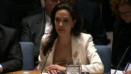 UNHCR special enjoy Angelina Jolie makes a plea to the United Nations Security Council to urge countries to do more to protect refugees of the ongoing conflict in Syria. April 24, 2015.