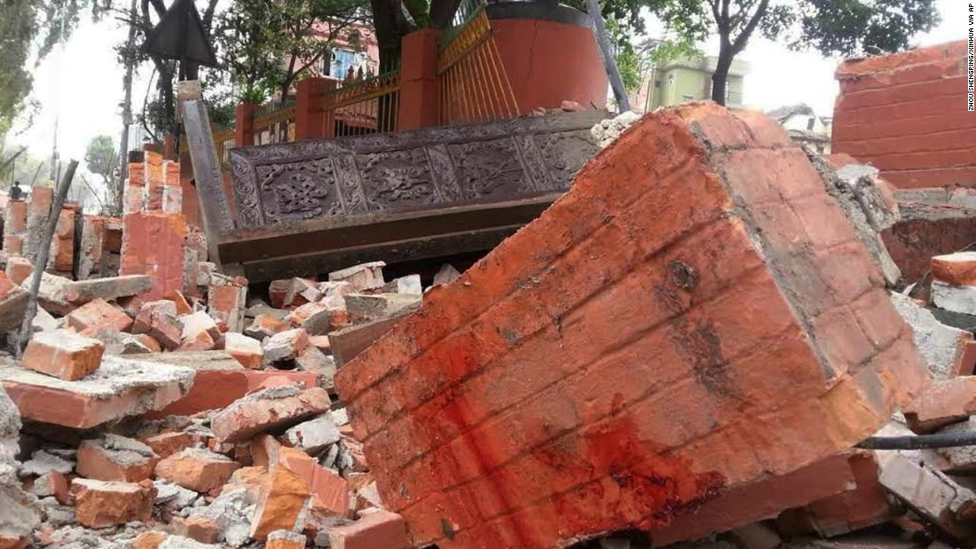 Rubble is seen in Nepal's capital Kathmandu on April 25. Electrical power was cut to the capital after the quake.