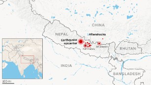 Map of Nepal earthquake epicenter and aftershock locations