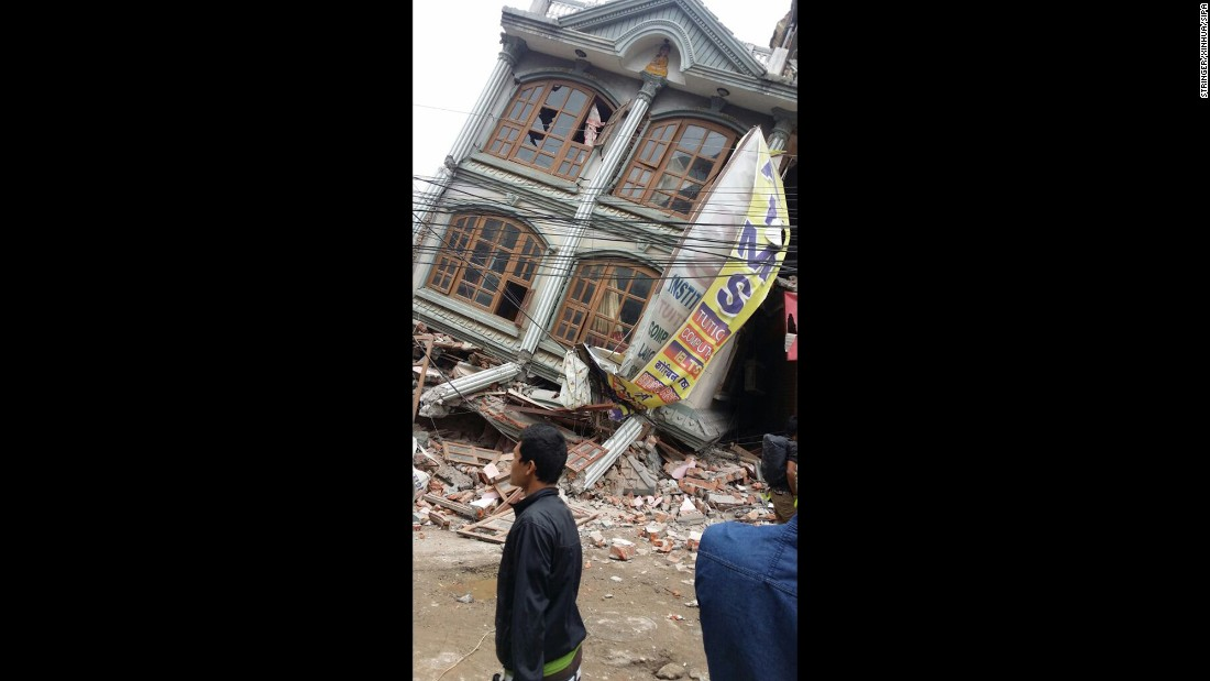 Buildings shaken off their foundations in Kathmandu. The quake, which struck at 11:56 a.m. local time (2:11 a.m. ET) on Saturday, April 25, occurred at a depth of 9.3 miles -- considered shallow -- in the Kathmandu Valley, which has suffered major earthquakes in the past, most recently a magnitude-8.1 event in 1934.