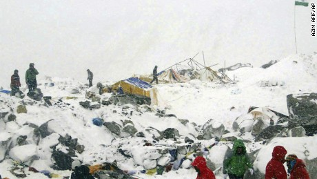 Azim Afif, of the Universiti Teknologi Malaysia (UTM) climbing team, provided this photo of the Everdst Base Camp after it was ravaged by an avalanche triggered by the earthquake on April 25. All of Afif's five member team survived the avalanche.