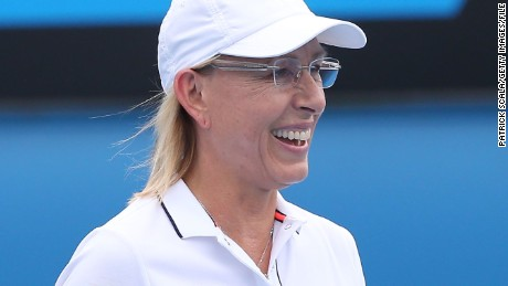 Martina Navratilova of the United States in action in in their legends doubles match during day nine of the 2015 Australian Open at Melbourne Park on January 27, 2015 in Melbourne, Australia. (Photo by Patrick Scala/Getty Images)