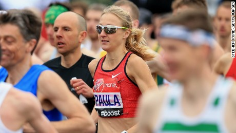 A face in the crowd: Paula Radcliffe mixes it with the club runners at the start of the 2015 London Marathon.