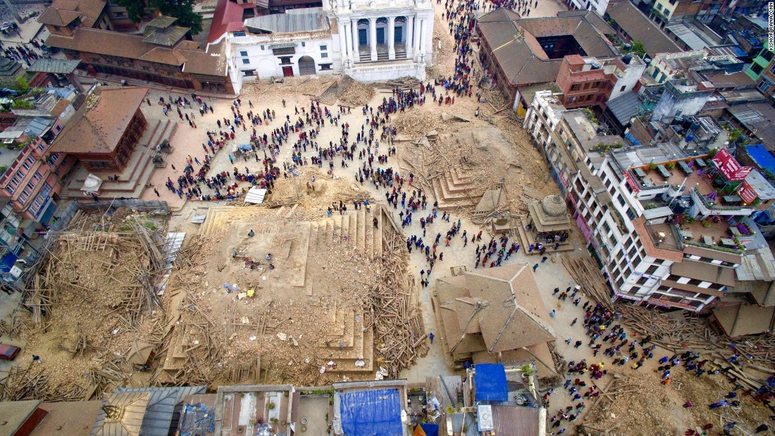 An aerial view of the devastation in Kathmandu on April 27. The destruction in Nepal's capital is stark: revered temples reduced to rubble, people buried in the wreckage of their homes, hospitals short on medical supplies overflowing with patients.