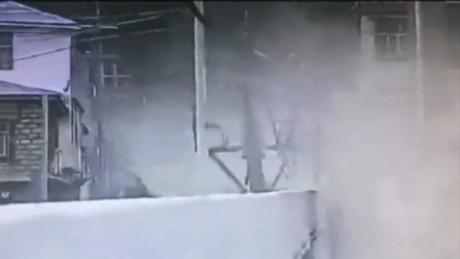 Surveillance cameras in Tibet capture earthquake damage.