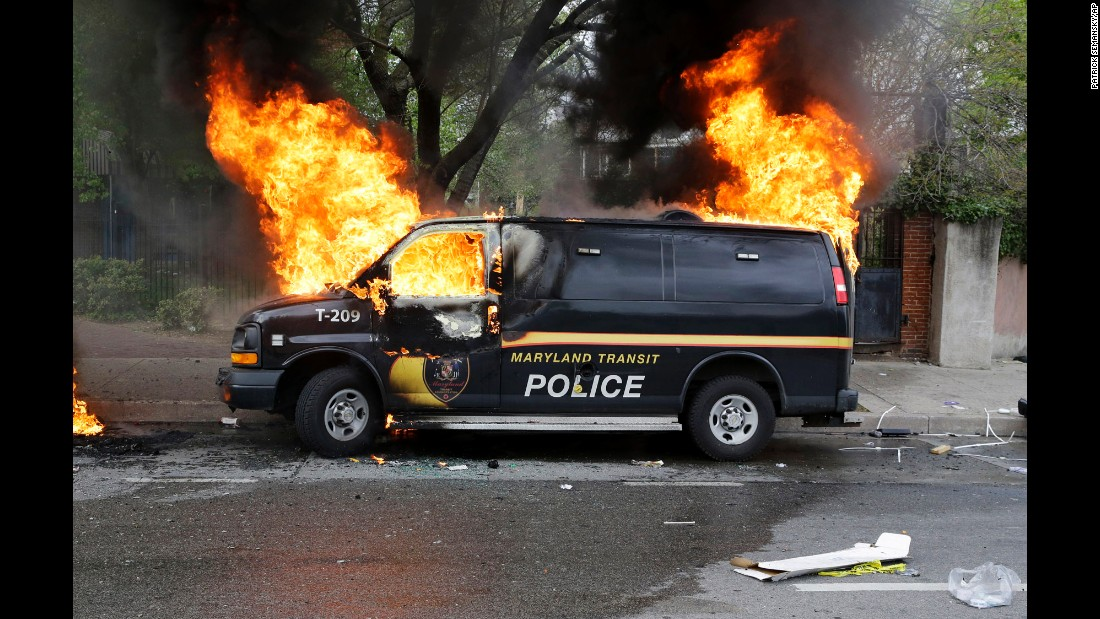 A police vehicle burns April 27.