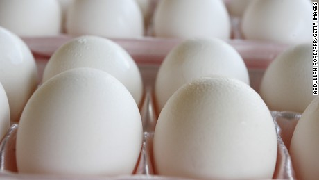 Eggs sit in an egg carton in Washington, DC, August 19, 2010.
