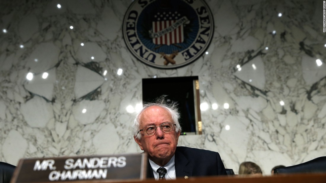 Sanders awaits the start of a hearing  on the state of veterans' health care by the Senate Veterans Affairs Committee on September 9, 2014, in Washington.