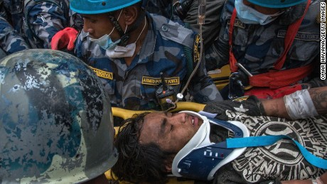 Pemba Tamang being pulled alive from the rubble, five days after a huge earthquake hit Nepal.