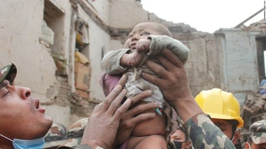 A 4-month-old boy was found in the rubble of his home after a magnitude-7.8 earthquake struck Bhaktapur, Nepal. The baby survived in the debris for 22 hours.