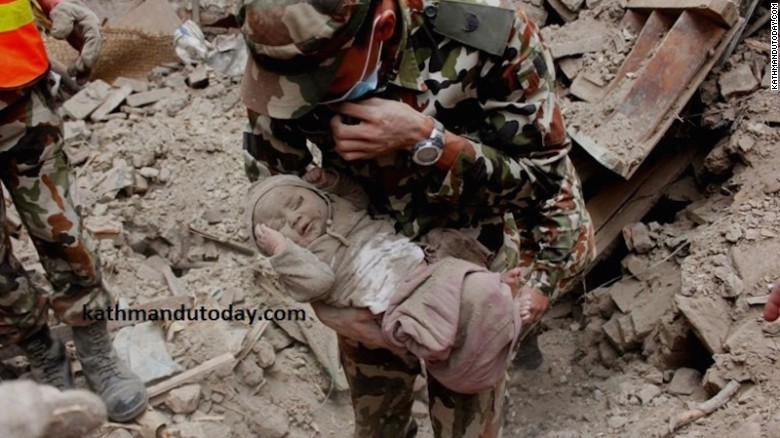 Baby Sonit Awal spent 22 hours buried in the rubble of his home.