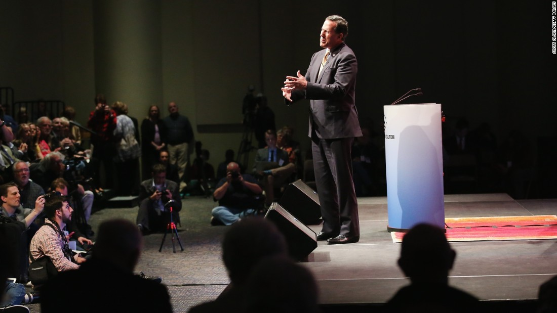 Santorum speaks at the Point of Grace Church for the Iowa Faith and Freedom Coalition 2015 Spring Kickoff on April 25 in Waukee, Iowa.