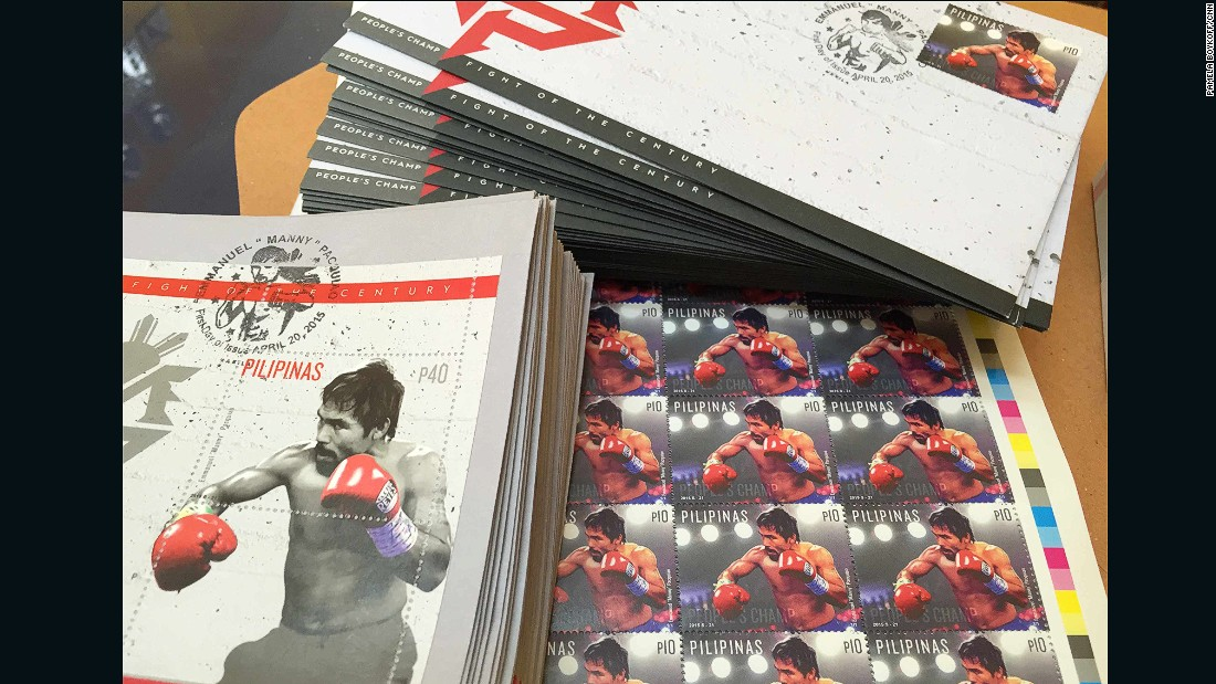 """Manny Pacquiao is the first athlete from the Philippines to have his own stamp, says postmaster Evelyn Jacala. """"They are selling like hotcakes,"""" she adds."""