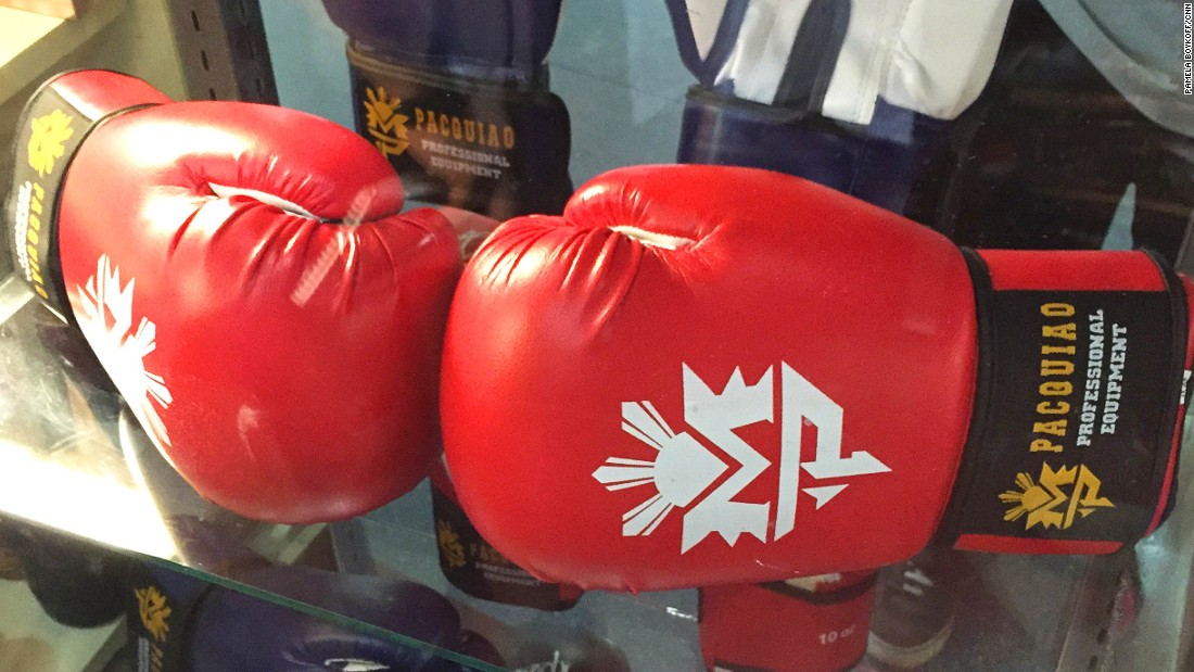 """Official boxing gloves are the best-selling item at the Official """"Team Pacquiao"""" store."""