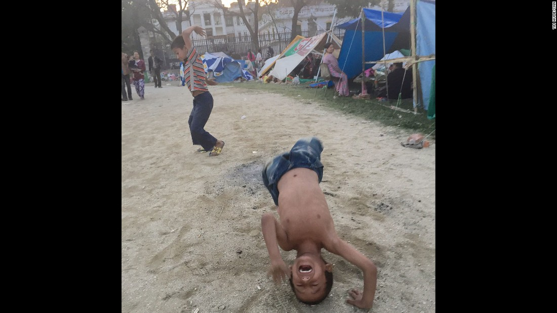 """NEPAL: """"Met these two cartwheeling their way through a huge tent city in the middle of Kathmandu. Squatting among thousands of others too scared to be under a roof right now -- but not letting it get to them."""" - CNN's Tim Hume.<br />Follow <a href=""""http://instagram.com/tim_hume"""" target=""""_blank"""">@tim_hume</a> and other CNNers on the <a href=""""http://instagram.com/cnnscenes"""" target=""""_blank"""">@cnnscenes</a> gallery on Instagram for more images you don't always see on news reports from our teams around the world."""