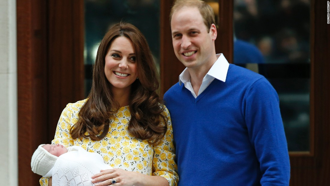 William and Catherine present their newborn princess, Charlotte Elizabeth Diana, as they leave St. Mary's Hospital in London on Saturday, May 2.