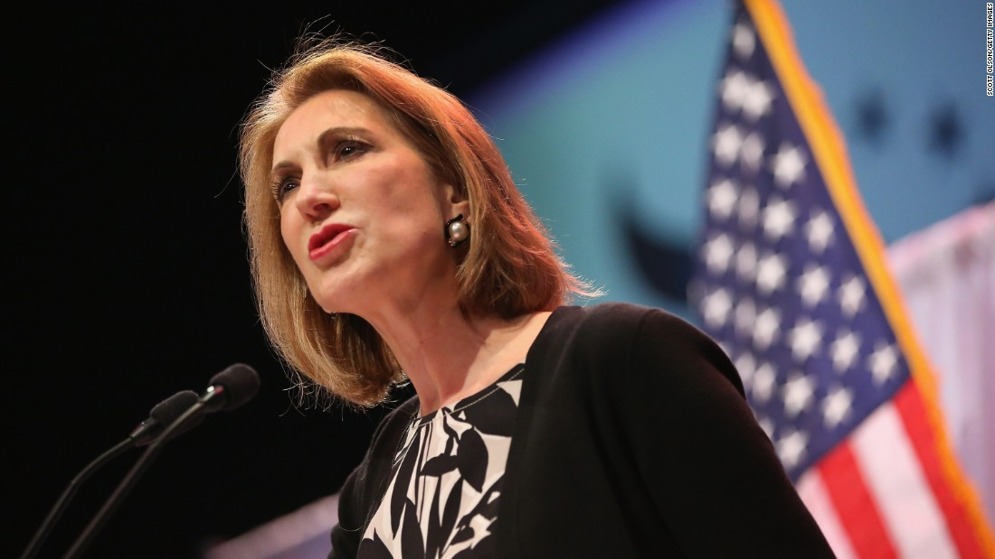 Former business executive Carly Fiorina speaks to guests gathered at the Point of Grace Church for the Iowa Faith and Freedom Coalition 2015 Spring Kickoff on April 25, 2015, in Waukee, Iowa.