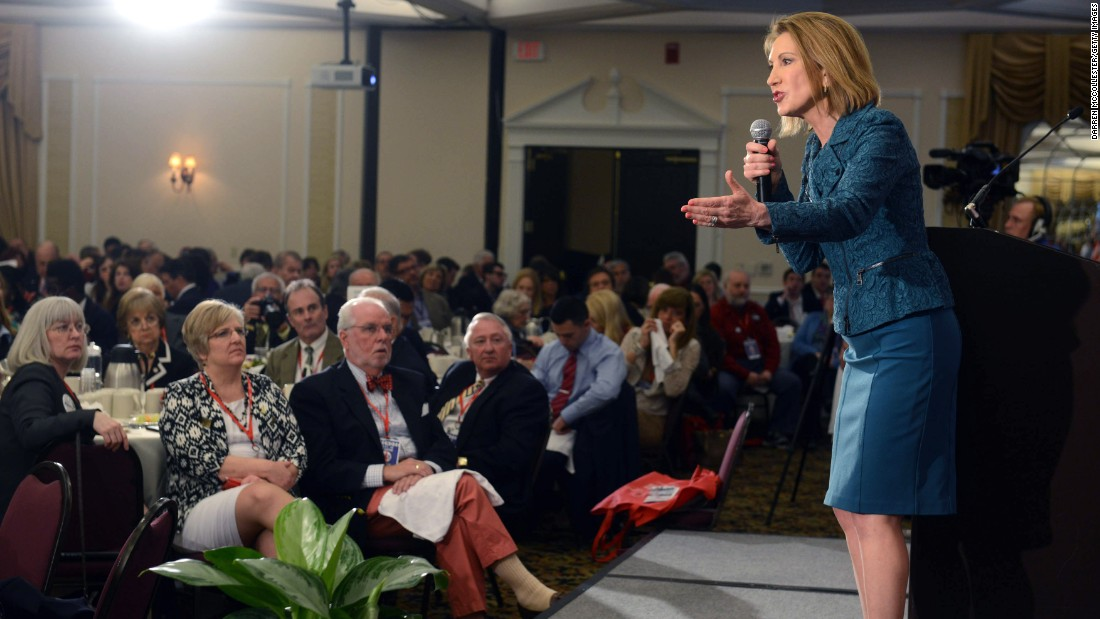 Fiorina speaks at the First in the Nation Republican Leadership Summit April 18, 2015, in Nashua, New Hampshire.