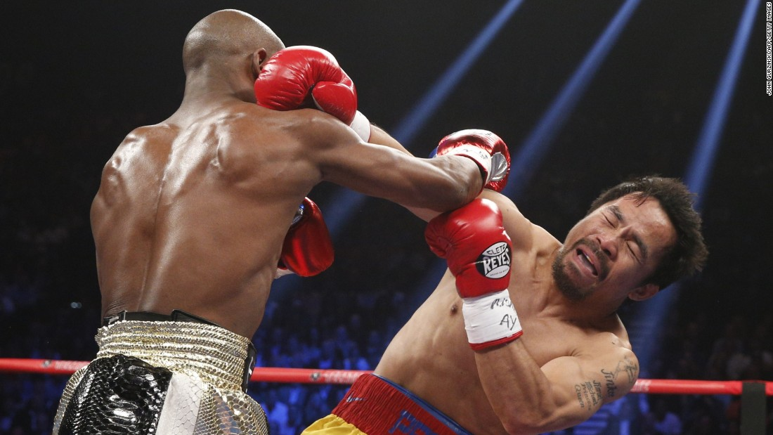 Floyd Mayweather is now 48-0 with 26 knockouts. Pacquiao is 57-6-2 with 38 knockouts. <br />