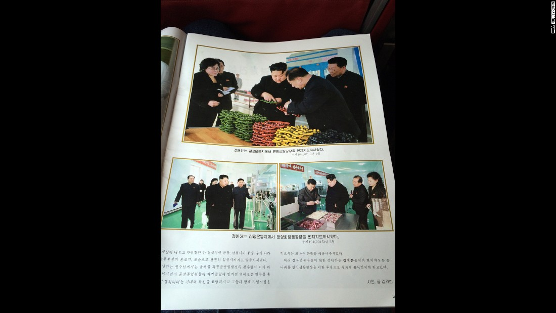 The inflight magazine feature multiple pages on Supreme Leader Kim Jong Un.