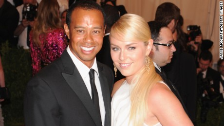 """NEW YORK, NY - MAY 06:   Golfer Tiger Woods (L) and Skier Lindsey Vonn attend the Costume Institute Gala for the """"PUNK: Chaos to Couture"""" exhibition at the Metropolitan Museum of Art on May 6, 2013 in New York City.  (Photo by Jamie McCarthy/Getty Images for The Huffington Post)"""