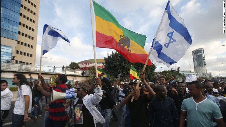 Ethiopian protestors fill a street in Tel Aviv during a recent demonstration.