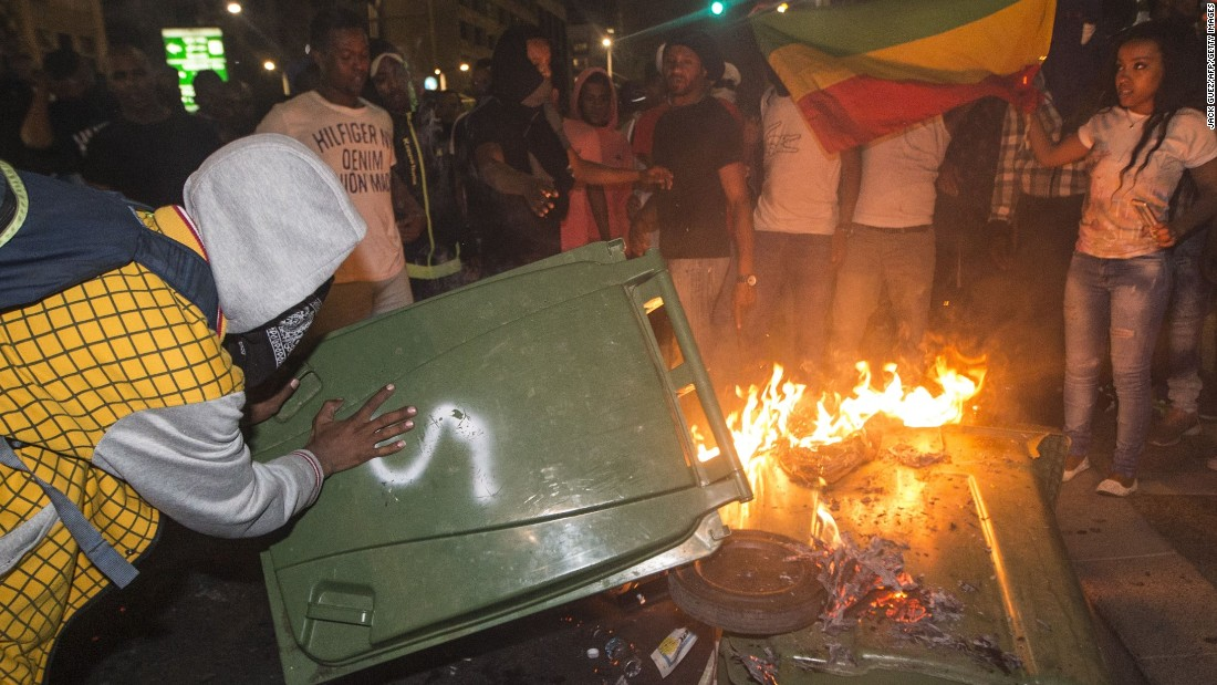 Israelis from the Ethiopian community burn garbage during the protest.