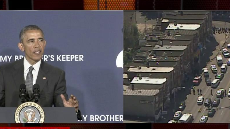 President Barack Obama speaks about his initiative My Brother's Keeper as police begin to mobilize in Baltimore on May 4, 2015.