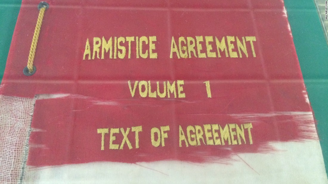 North Korea displays the armistice agreement that ended the brutal fighting of the Korean War in 1953.