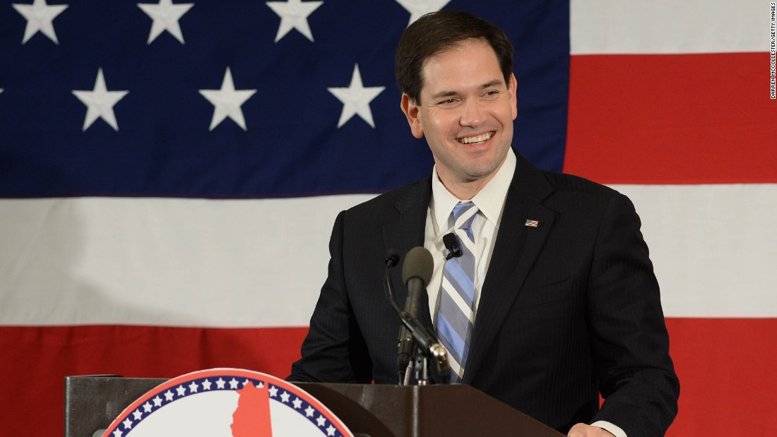 "Sen. Marco Rubio, R-Florida, <a href=""http://www.cnn.com/2015/04/13/politics/election-2016-marco-rubio-presidential-campaign/"" target=""_blank"">announced</a> his 2016 bid with a rally in Miami on April 13, a day after Clinton announced. He's a Republican rising star who swept into office in 2010 in a wave of tea party fervor.<br /><br />""Grounded by the lessons of our history, but inspired by the promise of our future, I announce my candidacy for President of the United States of America,"" Rubio told supporters at Miami's Freedom Tower."