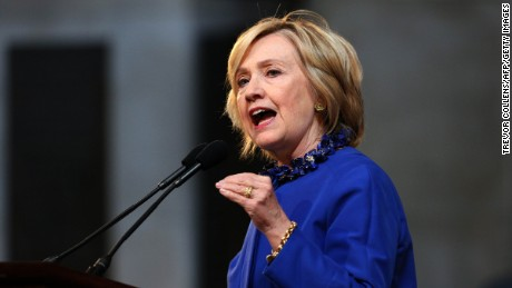Hillary Clinton delivers the keynote address at the 18th Annual David N. Dinkins Leadership and Public Policy Forum at Columbia University, in New York, April 29, 2015.