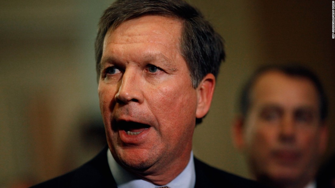 Before officially taking office as governor of Ohio, Kasich talks with reporters after meeting with House and Senate Republican leaders at the U.S. Capitol on December 1, 2010. The GOP leaders talked about ways to create jobs, cut spending and repeal the health care law.