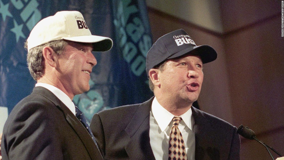 "Kasich, right, then a member of the U.S. House, sports ""Bush"" baseball caps with Texas Gov. George W. Bush on July 14, 1999. The two lawmakers held a news conference at the Ronald Reagan International Trade Center in Washington during Bush's presidential run. Kasich had previously announced that he was withdrawing from the 2000 presidential race and endorsed Bush."
