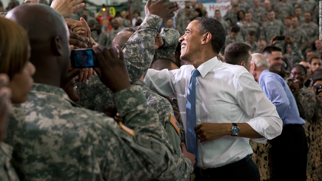 Greeting troops with Vice President Joe Biden at Fort Campbell in Kentucky on May 6, 2011.