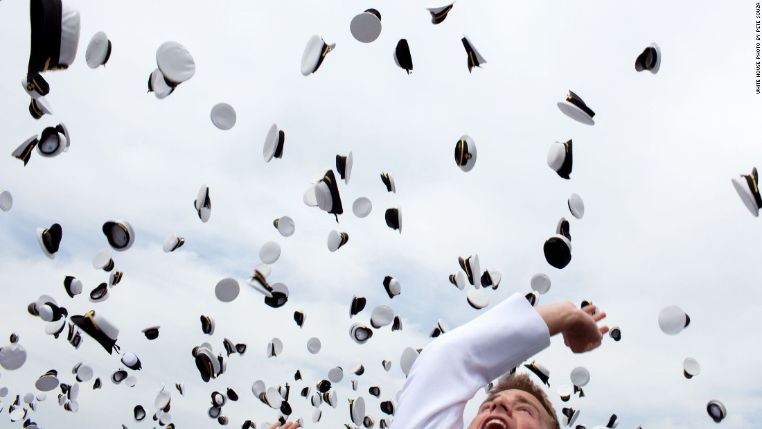 Graduates celebrating at the U.S. Naval Academy in Annapolis, Maryland, on May 22, 2009.