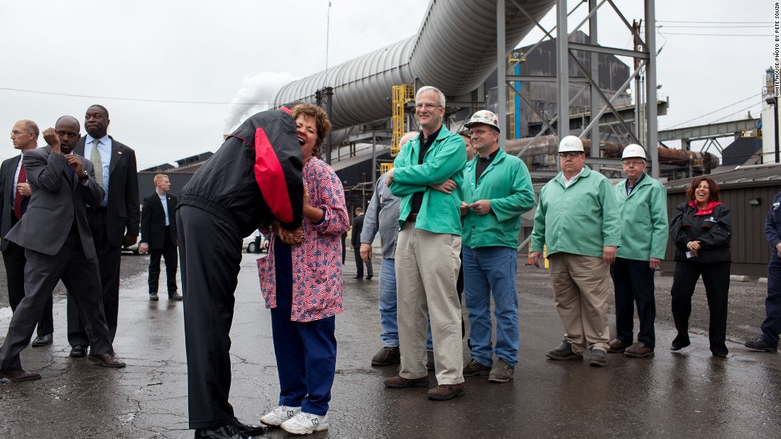 Greeting workers during a shift change at V&M Star, a manufacturer of steel products, in Youngstown, Ohio, on May 18, 2010.