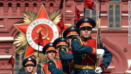 Russian soldiers take part in a rehearsal for the Victory Day military parade on May 7, 2015 on Red Square in Moscow. Russia will celebrate the 70th anniversary of the 1945 victory over Nazi Germany on May 9.
