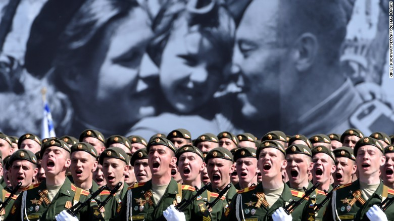 Russian soldiers march through Red Square during the 70th anniversary Victory Day military parade in Moscow, on May 9. The Victory Day parade commemorates the end of World War II in Europe.