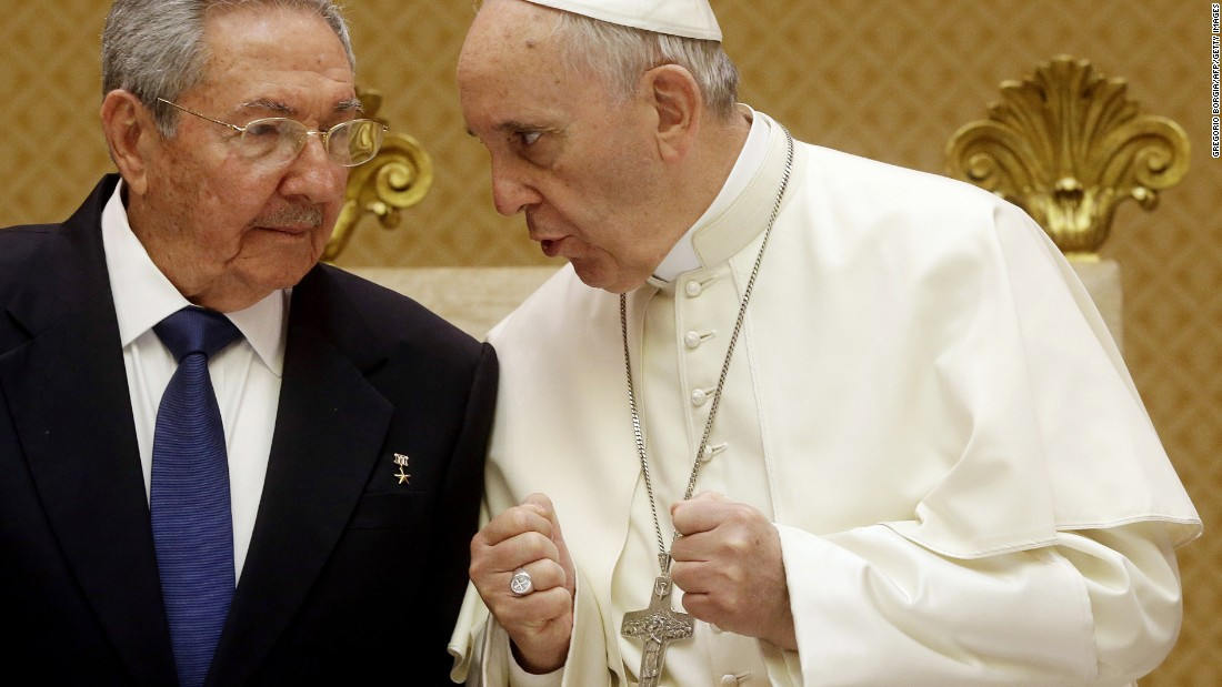 Pope Francis talks with Cuban President Raul Castro during a private audience at the Vatican on Sunday, May 10. Castro thanked the Pope for his role in brokering the rapprochement between Havana and Washington.