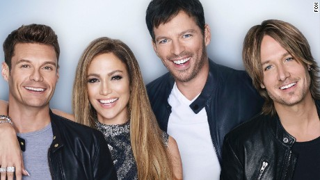AMERICAN IDOL XIV: L-R: Ryan Seacrest, Jennifer Lopez, Harry Connick JR., and Keith Urban. CR: Matthias Vriens-McGrath FOX. © 2014 FOX Broadcasting Co.