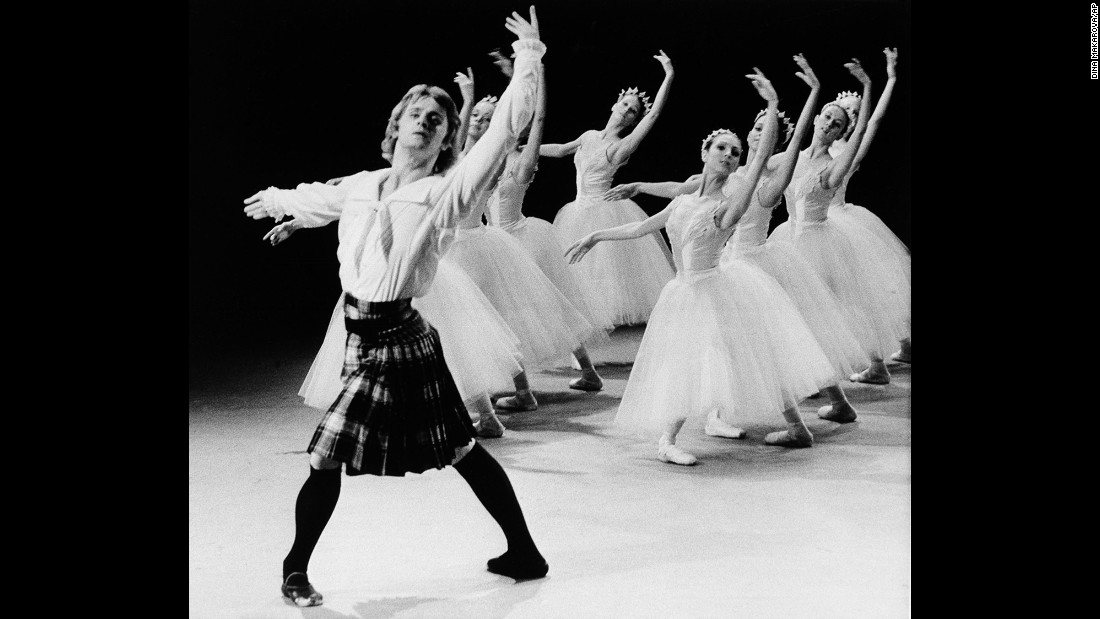 "Russian dancer Mikhail Baryshnikov, left, tapes a TV special in Canada, where he defected in June 1974. Soon after, Baryshnikov moved to the United States and started working with the New York City Ballet and the American Ballet Theatre. In 1979, he earned an Academy Award nomination for his supporting role in the film ""The Turning Point."""