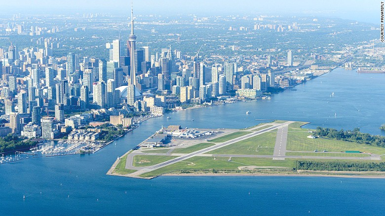 Commonly known as Toronto Island Airport, Billy Bishop Toronto City Airport is a small facility located on an island in Lake Ontario in Canada's largest city.  <br />At ground level it's only accessible by passenger ferry and is used by regional airliners, private aviation, small charter flights and medical emergency flights.